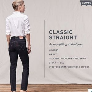 Levi's Jeans Straight Leg Stretch Womens Midrise